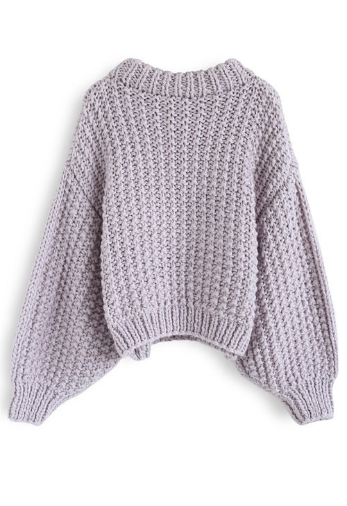 957bc5aaab Chunky Chunky Puff Sleeves Cropped Sweater in Lavender - Retro ...